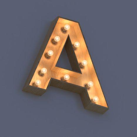 Объемные световые буквы в стиле ретро