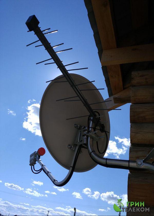 г. Магнитогорск, пос. Зеленая Долина - Установка спутникового телевидения Триколор на 2 телевизора с цифровым эфирным телевидением.