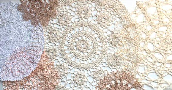 вязаные кружевные салфетки